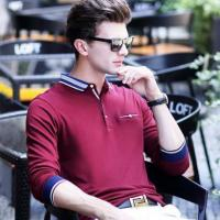 China Normal design long sleeve red knitted polo shirt for men on sale