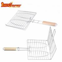 China Contact Now Barbecue Tools Stainless Steel Double Fish Racks Hamburger Grill Charcoal on sale