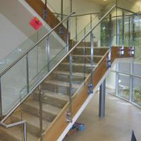 Quality Stainless steel round handrail flat plate baluster glass railing wholesale