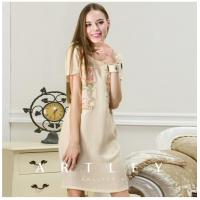 China Summer New Hand painted Real silk embroidery one-piece dress on sale