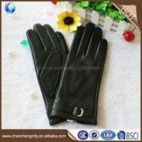 Quality High quality cheap winter women sheep leather gloves with leather belt wholesale