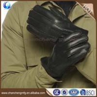 China Winter warm mens fur lined leather gloves for touch screen with high quality on sale