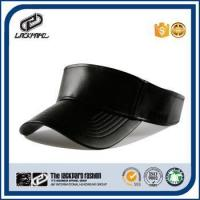 Quality Summer fitted leather sun visor cap with custom hook&loop buckle wholesale