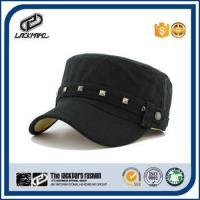 Quality Black and navy flat top military cadet hat solid color army style hats wholesale