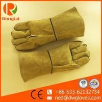 China Brown long leather full palm worker gloves on sale