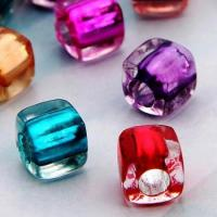 100X Plastic Beads 7mm colored cubes Crafts