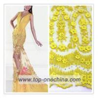 China Textile 3d flower lace embroidered fabric/3d Bead Embroidery lace Fabric/embroidered 3d lace faric on sale