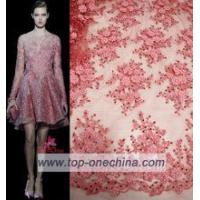China 2016 3D flower lace handwork embroidery designs/beaded lace appliques/beaded lace evening dresses on sale