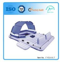 China Inflatable Island Floating Raft Water Lounge Boat Lake 6 Person Pool Party Float on sale