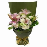 Quality Stargazer Lilies Arranged with Roses and Greens NO.27 delivery wholesale