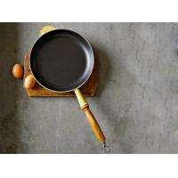China 24cm pre-seasoned cast iron fry pan with wooden handle on sale
