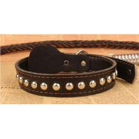 Quality Adogo Black Brown Leather Dog Lead with Adjustable COLLAR (Collar 37-57cm & Lead 120cm) wholesale