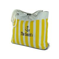 Buy cheap Yellow stripe canvas beach bag from wholesalers