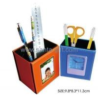 China Pen holder desk clock with photo frame S9208 on sale