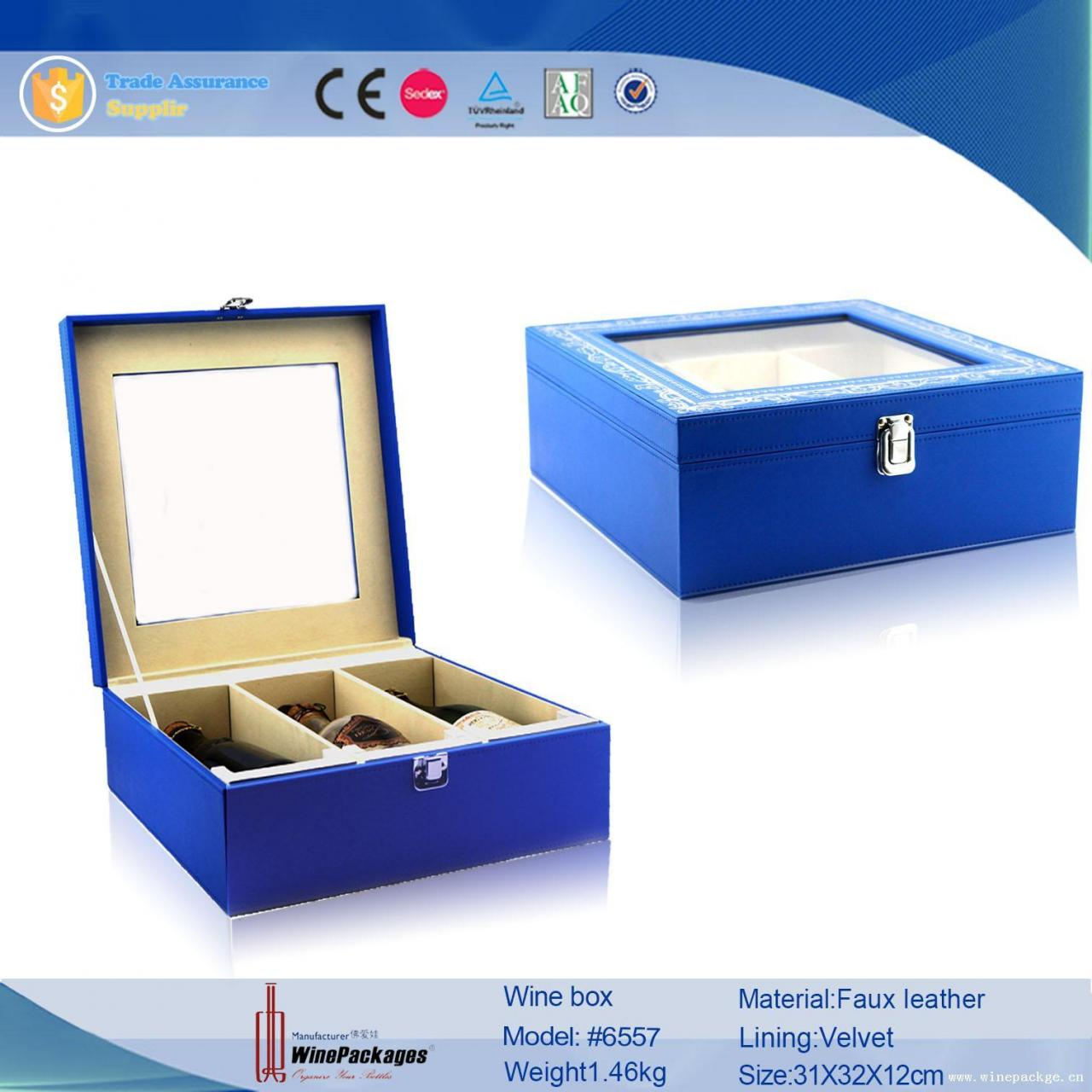 China mdf board wood wine fancy glass packaging box with transparent cover lid on sale