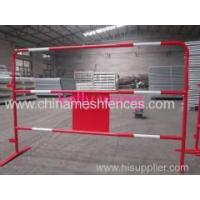 Quality Haotian temporary powder coated road traffic barrier with advertising sign factory wholesale