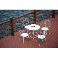 China Steel Folding Outdoor Table and Chairs Round Patio Furniture White on sale
