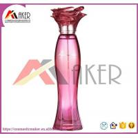 China New Design Glass Perfume Bottle with Flower Shape Cap on sale