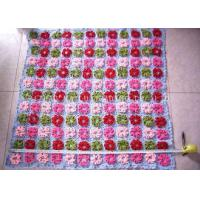 China Purple And Pink Crochet Baby Security Blanket Roses Handcrafted Baby Blankets on sale