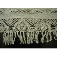 China Rib Linen Crochet Accessories / Crochet Lace Curtains With Tassels Trimming on sale