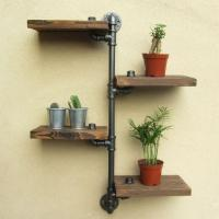 China Loft Style Black Metallic Plumbing Four Wooden Layers Wall Ledge Home Dcor Flower Stand Shelf on sale