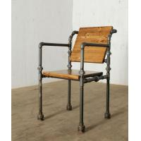 China Rustic Wooden Seat Antique Iron Hose Frame Chair Dining Chair Home Coffee Shop Office on sale