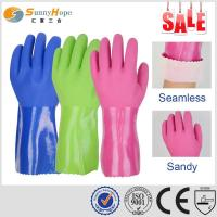 Quality seamless cotton liner PVC triple dipped oil & chemical resistnat glove wholesale