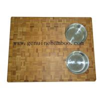China Kitchen Eco-Friendly End Grain Bamboo Cutting Boards with Stainless Bowl on sale