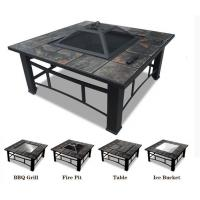 China Multi Function Outdoor Square BBQ Grill Style Fire Pit Patio Heater Charcoal Fire Pit With Ice Bowl on sale
