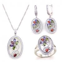 Buy cheap Latest Fashion Multicolor Stone Wedding Bridal Jewelry Set from wholesalers