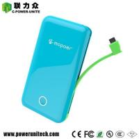 Buy cheap Ultra Thin Build-in Cable Power Bank 6000mAh With 2 USB Ports product