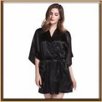 Quality Solid color lady silk robe wholesale