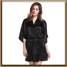 Cheap Solid color lady silk robe for sale