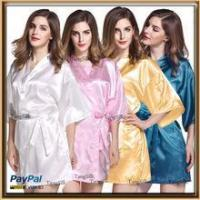Quality plain colors silky satin bridesmaid robe wholesale