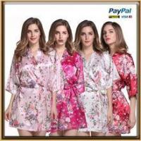 Quality In stock WHOLESALE supply knee length floral silk bath robe wholesale