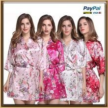 China In stock WHOLESALE supply knee length floral silk bath robe