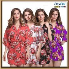 Cheap In stock design colorful floral cotton bridesmaid robes for sale