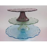 China Multicolor glass three layer cake stand on sale
