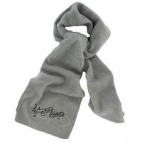 Quality Embroidered Music Fleece Scarf (Heather Gray or Ivory) wholesale