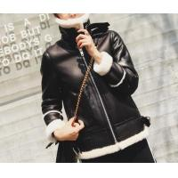 China Women Fur Coat Black Geniune Sheepskin Winter Jacket Double-Face Leather Motorcycle Biker Lamb Jacke on sale