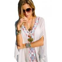 Buy cheap Embroidered V Neck Flowy White Beach Cover Up LC42167-1 from wholesalers