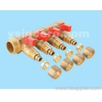 Brass linear manifold with ball valve YC-00703