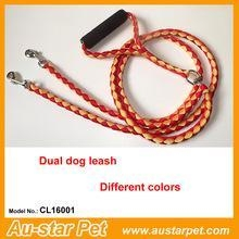 Cheap High Quality Nylon Braided Dual Pet Dog Leashes with Foam Handle for sale