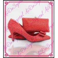 China Aidocrystal red crystal low heel pointed toe shoes wedding dress shoes with cluth bag Dinner bag on sale