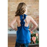 Teal Sleeveless Back Ruffle Tank Top
