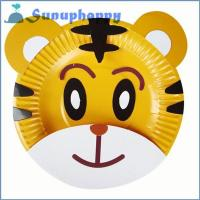 Quality Top quality custom DIY tiger shape colorful handmade paper plate for kids wholesale