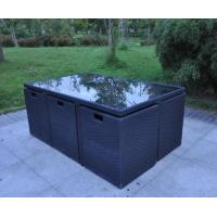 China Wicker Outdoor Dining Set 7 PCS Steel Cube Set on sale