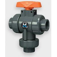 China 1/2 PVC/FPM Three-Way Ball Valves - Flanged on sale