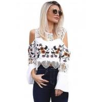 Quality New Arrivals White Crochet Cold Shoulder Bell Sleeve Crop Top wholesale