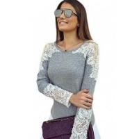Quality New Arrivals Lace Cutout Patchwork Grey Long Sleeve Top wholesale